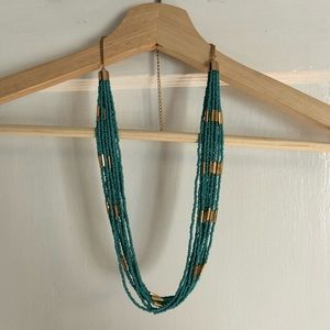 Jewelry - Aqua-blue layered beaded necklace